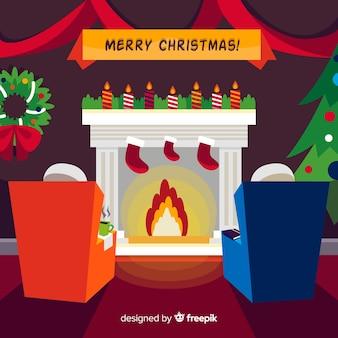 Fondo escena de chimenea de navidad