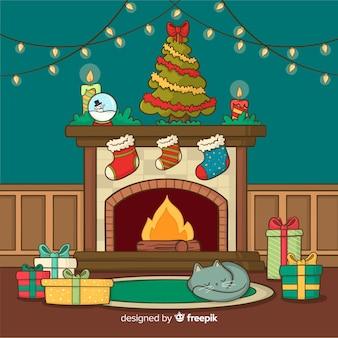 Fondo escena de chimenea en navidad