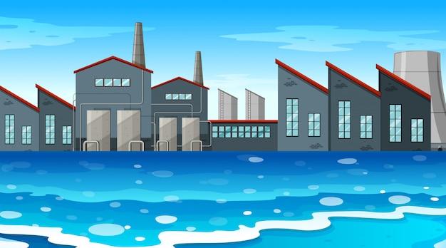 Un fondo de escena de una fábrica urbana.