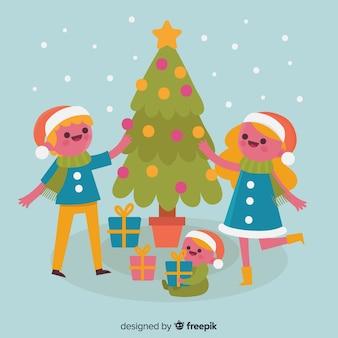 Fondo de escena de familia en navidad
