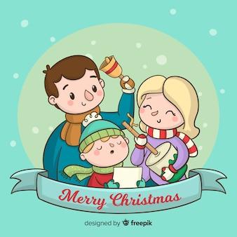 Fondo escena de familia en navidad
