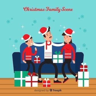 Fondo de escena familiar de navidad