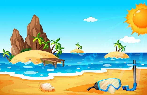Fondo de escena con islas y playa.