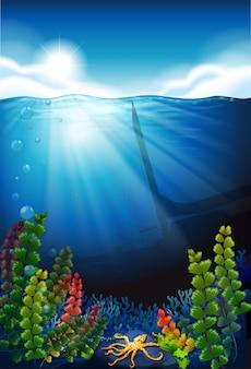 Fondo de escena con mar azul y bajo el agua.