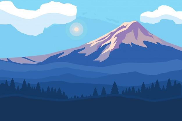 Fondo de escena montañosa del paisaje