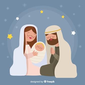Fondo escena de nacimiento de navidad