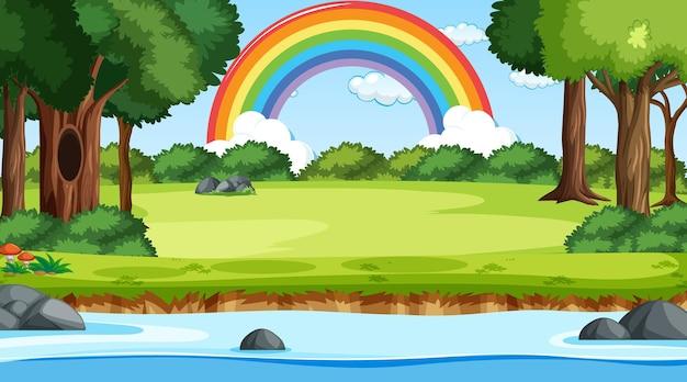 Fondo de escena de la naturaleza con arco iris en el cielo