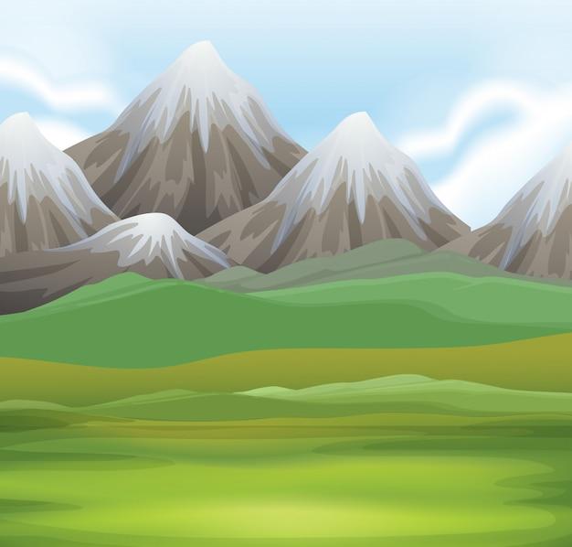 Fondo de la escena de la naturaleza del campo y las montañas