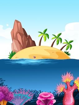 Fondo de escena de la naturaleza con la isla en el océano