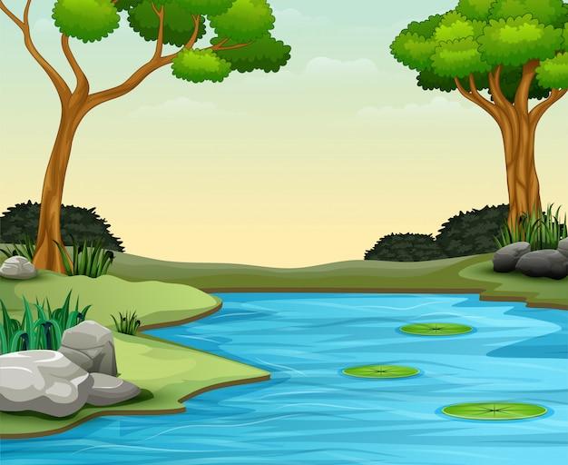 El fondo de la escena de la naturaleza con lago y loto