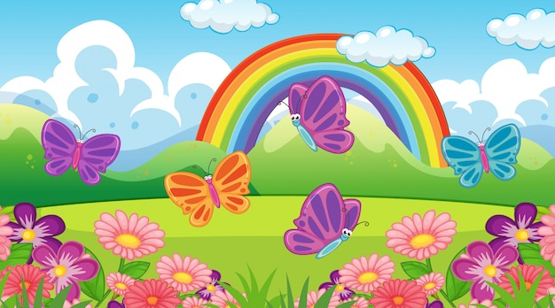 Fondo de escena de naturaleza con mariposas y arco iris en el jardín
