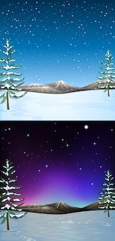 Fondo de escena de la naturaleza con nieve cayendo