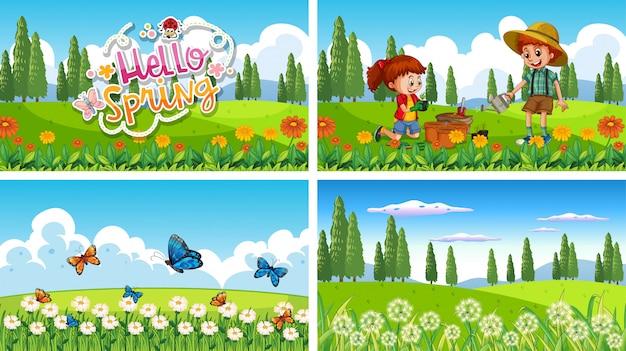 Fondo de escena de naturaleza con niño y niña haciendo jardinería