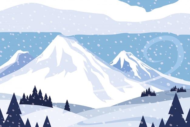 Fondo de escena de naturaleza de paisaje nevado