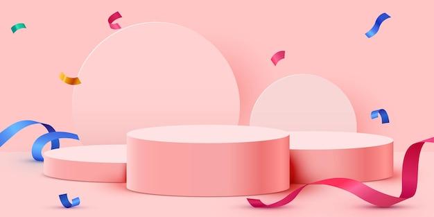 Fondo de escenario abstracto fondo de podio de cilindro con confeti y cintas presentación de producto ... Vector Premium