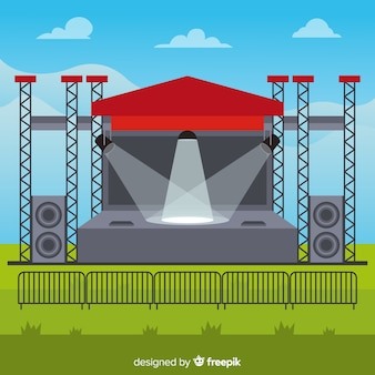 Fondo de escenario exterior con luces en diseño plano