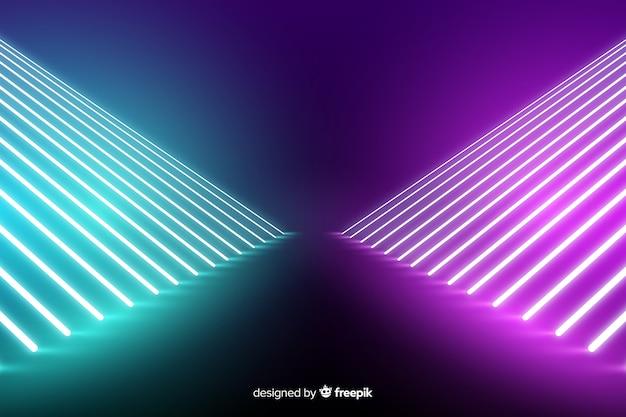 Fondo de escenario de luces de neón con líneas
