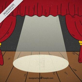 Fondo de escenario de madera con cortinas rojas