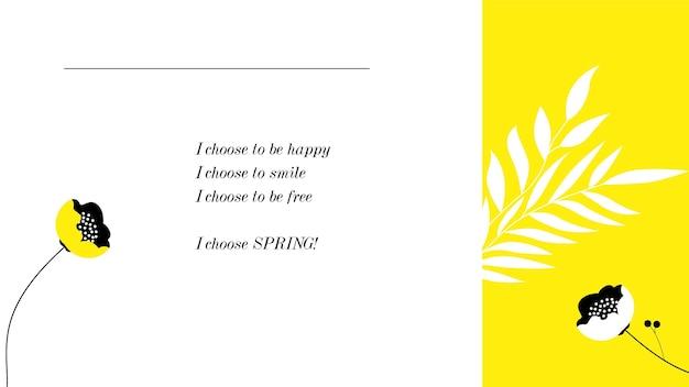 Fondo de escritorio de primavera con cita de inspiración minimalista