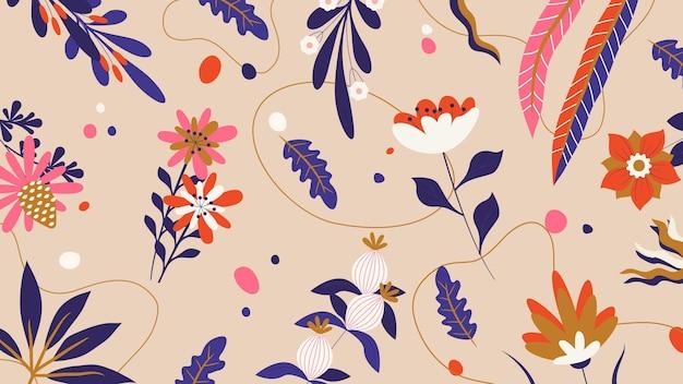Fondo de escritorio de primavera de ilustración floral de memphis