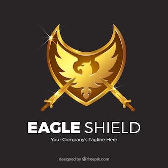 Fondo de escudo de águila dorada con espadas
