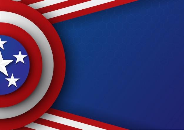 Fondo del escudo de la plantilla de la bandera de la celebración de los eeuu del día de la independencia. vector. illustration.on blue