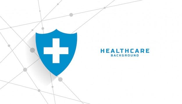 Fondo de escudo protector médico con espacio de texto