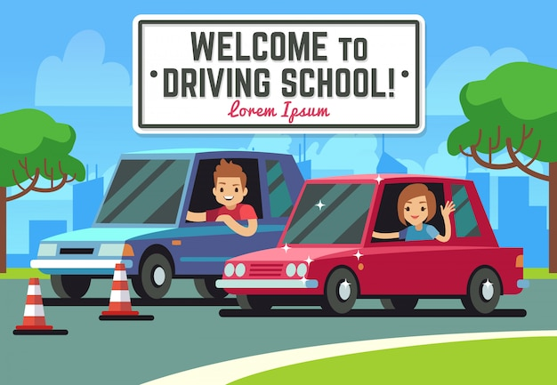 Fondo de escuela de conducción con conductor feliz joven en coches en carretera