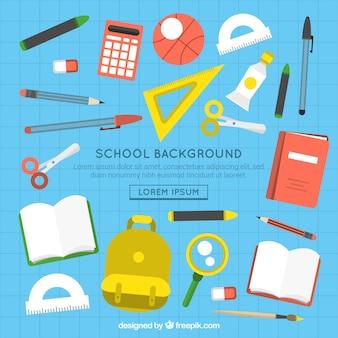 Fondo de escuela en estilo plano