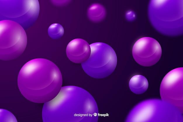 Fondo de esferas brillantes que fluye realista