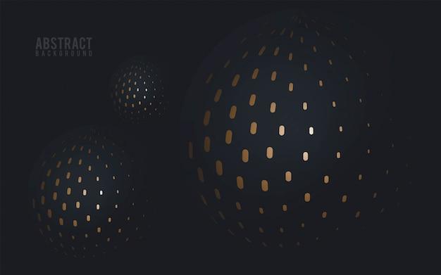 Fondo de esferas negro y oro - vector