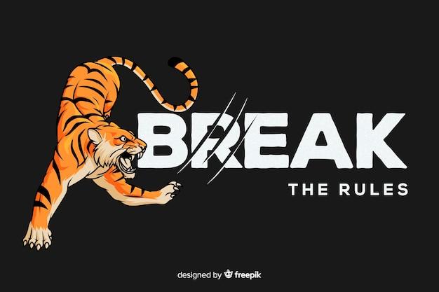 Fondo eslogan con tigre realista