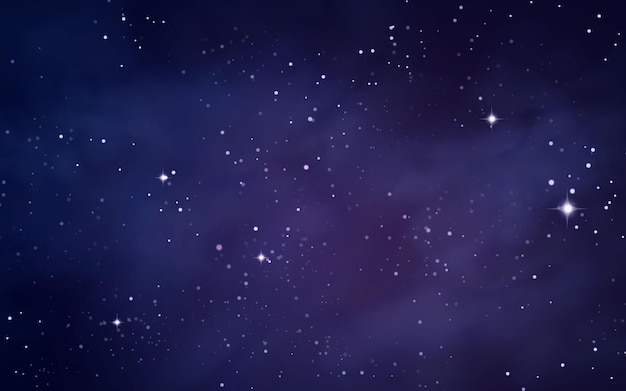 Fondo espacial con cielo estrellado y nebulosa.