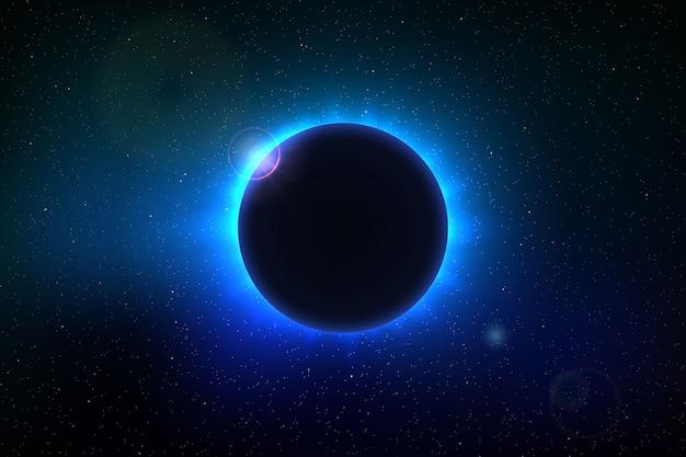 Fondo espacial con eclipse solar total