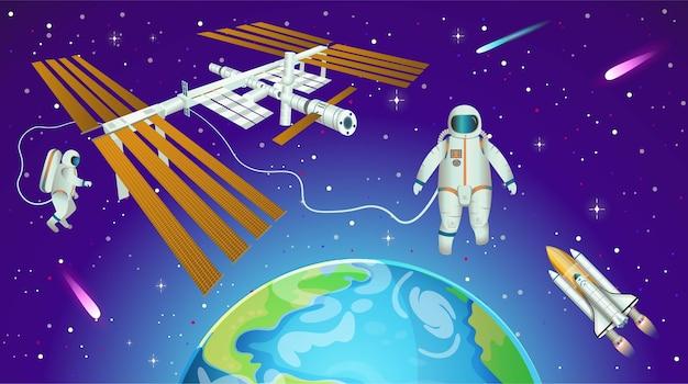 Fondo espacial con estación espacial internacional, planeta tierra, astronautas y transbordador espacial.
