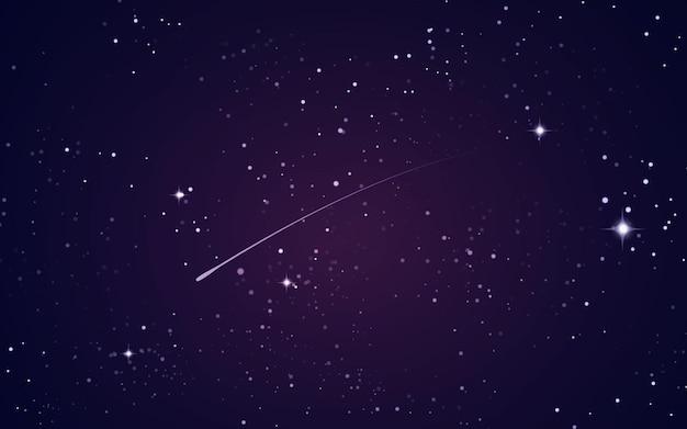 Fondo espacial con estrellas y estrella fugaz.