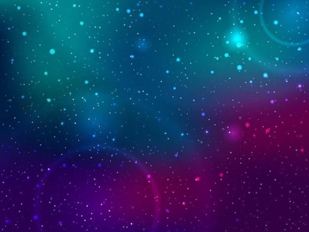 Fondo espacial con estrellas y manchas de luz.