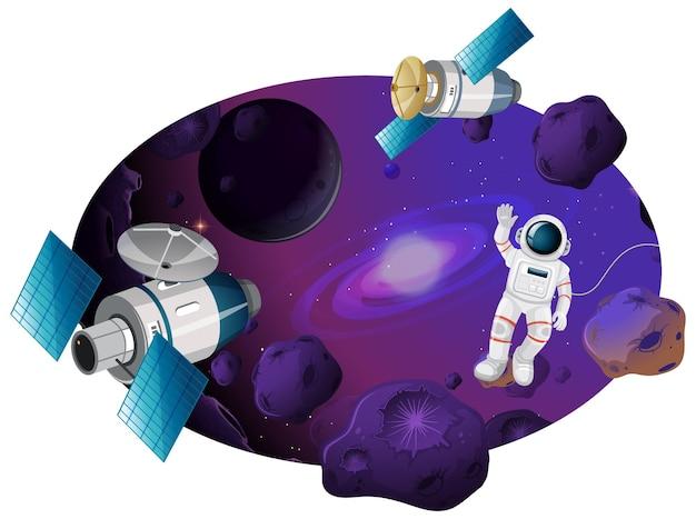 Fondo espacial con galaxia y meteoritos.
