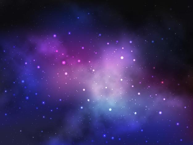 Fondo espacial con nebulosa y estrellas.