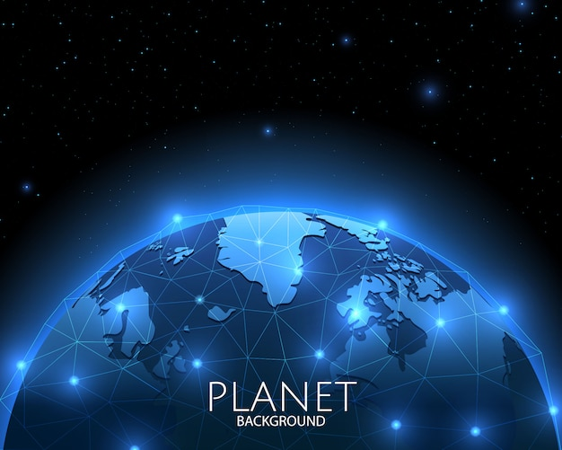 Fondo espacial con red social global azul del planeta.