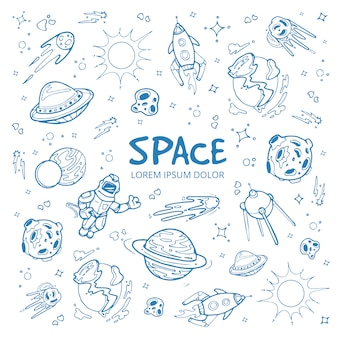 Fondo del espacio abstracto con planetas, estrellas, naves espaciales y objetos del universo.