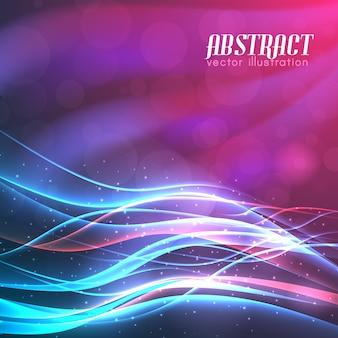 Fondo de espacio brillante con luces de líneas onduladas luminosas y focos de efectos brillantes