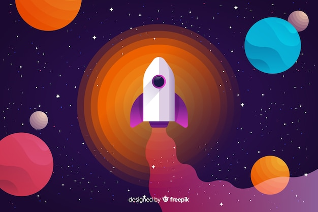 Fondo espacio colorido degradado con un cohete