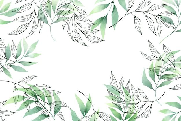 Fondo con espacio de copia de hojas verdes