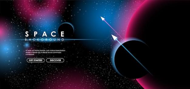 Fondo de espacio creativo con forma abstracta y planetas.
