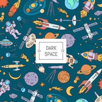 Fondo del espacio dibujado a mano