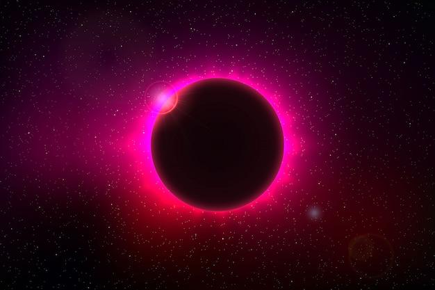 Fondo de espacio con eclipse solar total.
