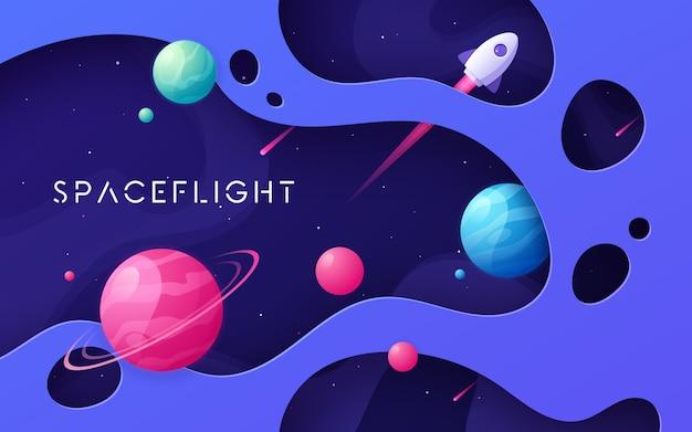 Fondo del espacio exterior de coloridos dibujos animados