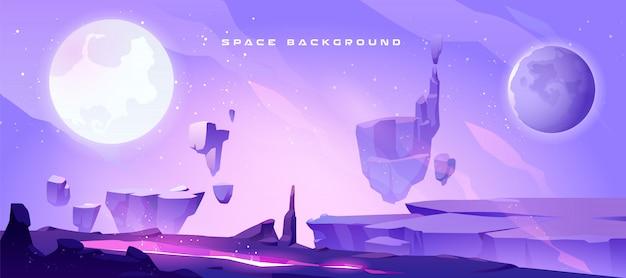 Fondo del espacio con paisaje del planeta alienígena