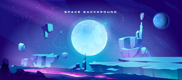 Fondo del espacio con paisaje del planeta